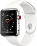 Apple Watch Series 3 38mm Stainless Steel Case with Soft White Sport Band